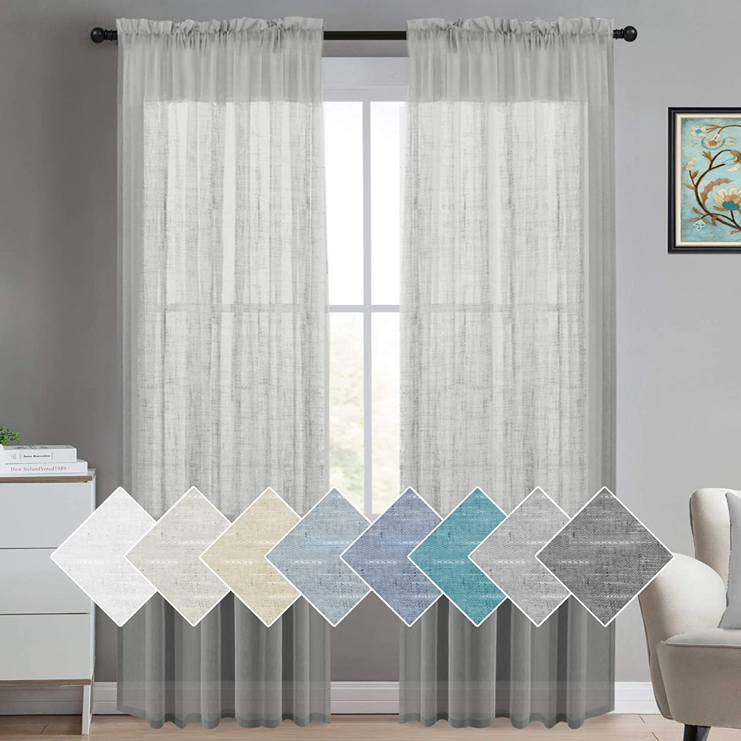 Linen Sheer Curtains 84 Inches Long Linen Blended Curtains Natural Linen Curtain Panels Rich Quality Sheers Curtains For Bedroom Drapes Semi Sheer Linen Look Curtain Panels (2 Panel, Dove Gray)
