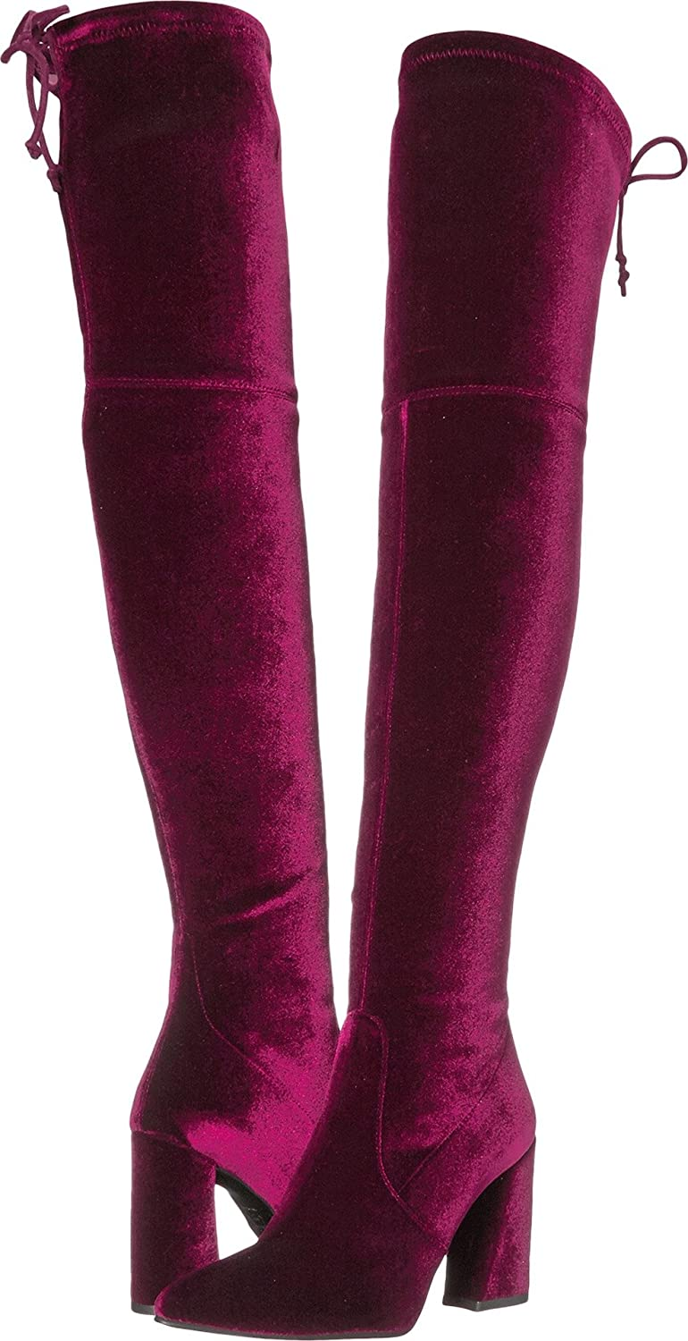 Stuart Weitzman Women's Funland Over The Knee Boot B06X3SX95F 9 B(M) US|Bordeaux Stretch Velvet
