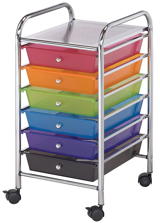 Amazon.com: Blue Hills Studio SC62MC Storage Cart 6 Drawer (Standard)  Multi Colored: Arts, Crafts U0026 Sewing