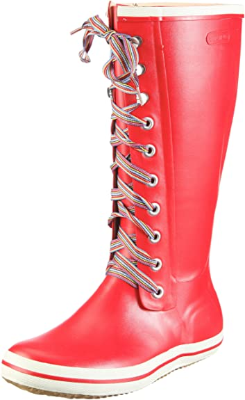 Womens Retro W Striped Laces Unlined Rubber Boots Long Shaft Boots & Bootees Viking dVRDjSl