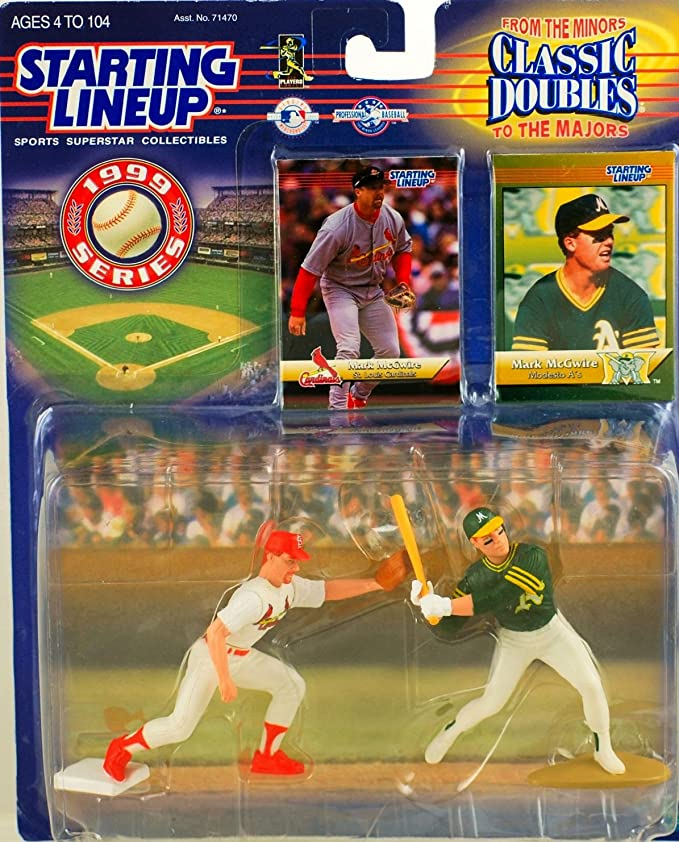 1999 SLU Starting Lineup MARK MCGWIRE Minor Major Modesto A/'s Cards Figures 2 PK