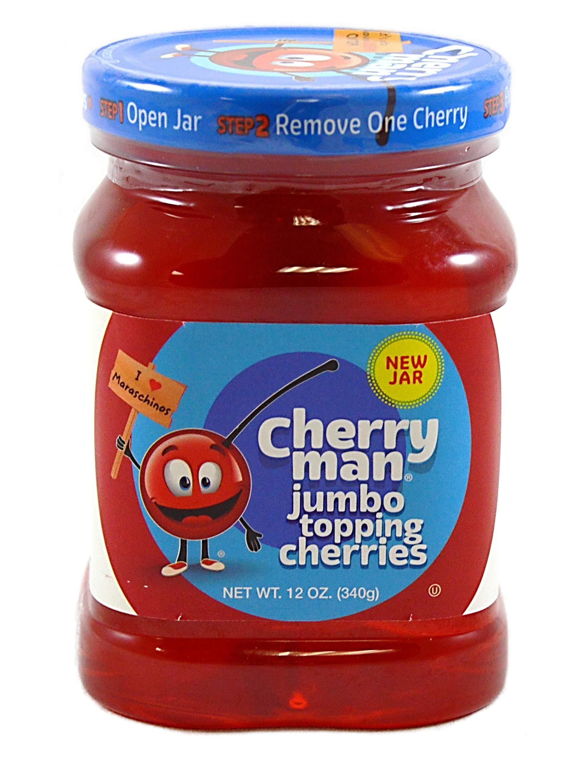 CherryMan Jumbo Topping Cherries No Stems, 12 Ounce (Pack of 12)