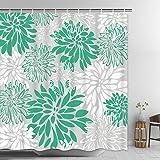 Dekoresyon Chrysanthemum Shower Curtain, Dahlia Pinnata Flower Shower Curtain with 12 Hooks, Waterproof Floral Turquoise Bath
