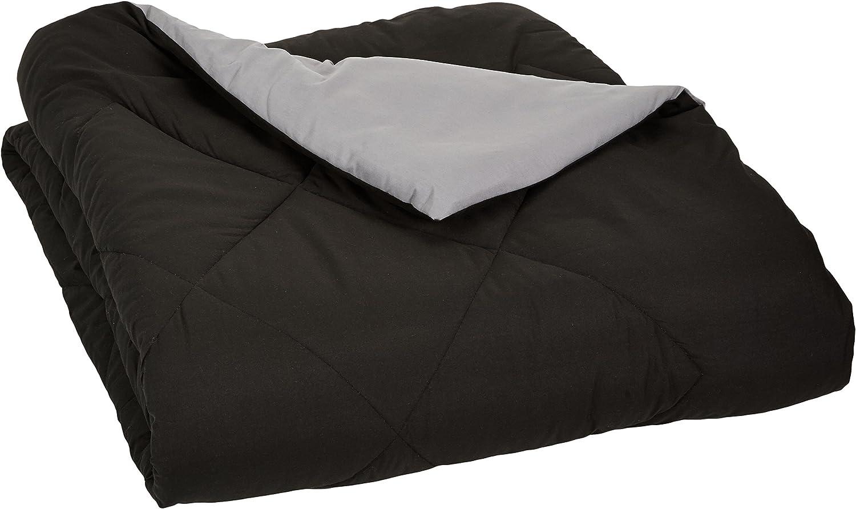 AmazonBasics Reversible Microfiber Comforter Blanket - Full or Queen, Black