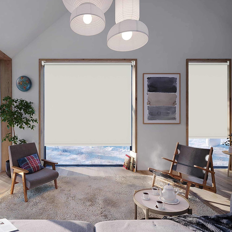 HOMEDEMO Store Enrouleur occultant sans percage 50 x 120 cm Rideau occultant pour Fen/êtres et Portes Isolant Thermique Opaque Cr/ème