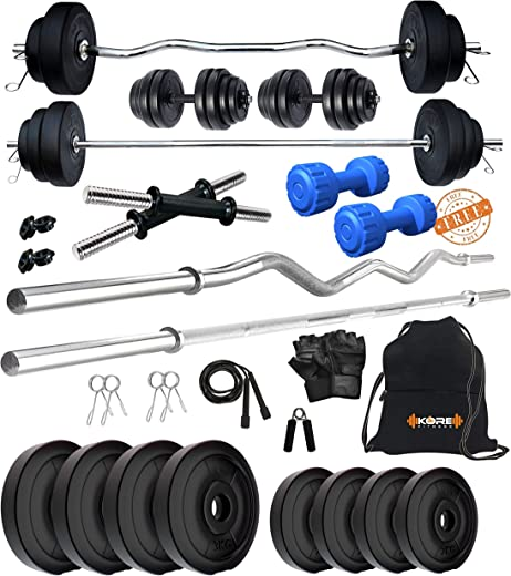 Kore PVC 20-50 Kg Home Gym Set with One Plain + One Curl and One Pair Dumbbell Rods with Gym...