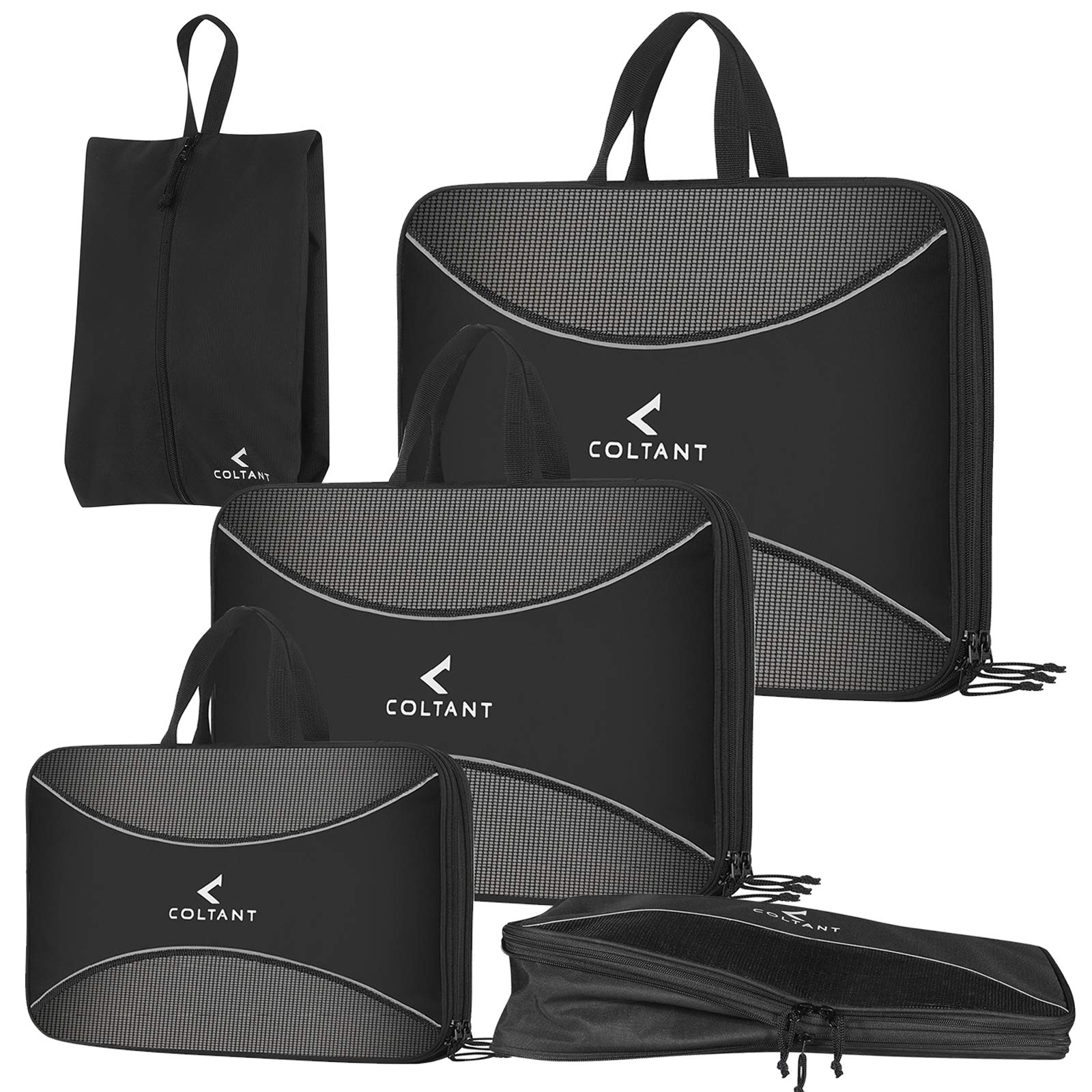4 Set Compression Packing Cubes + Free Shoe Bag for Travel and luggage organizer by Coltant (Image #1)