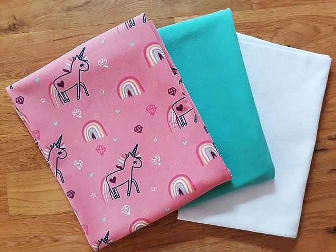 Stoffpaket Mädchen Jerseystoffe Nähen Einhorn Einhörner Stoffe Stoff