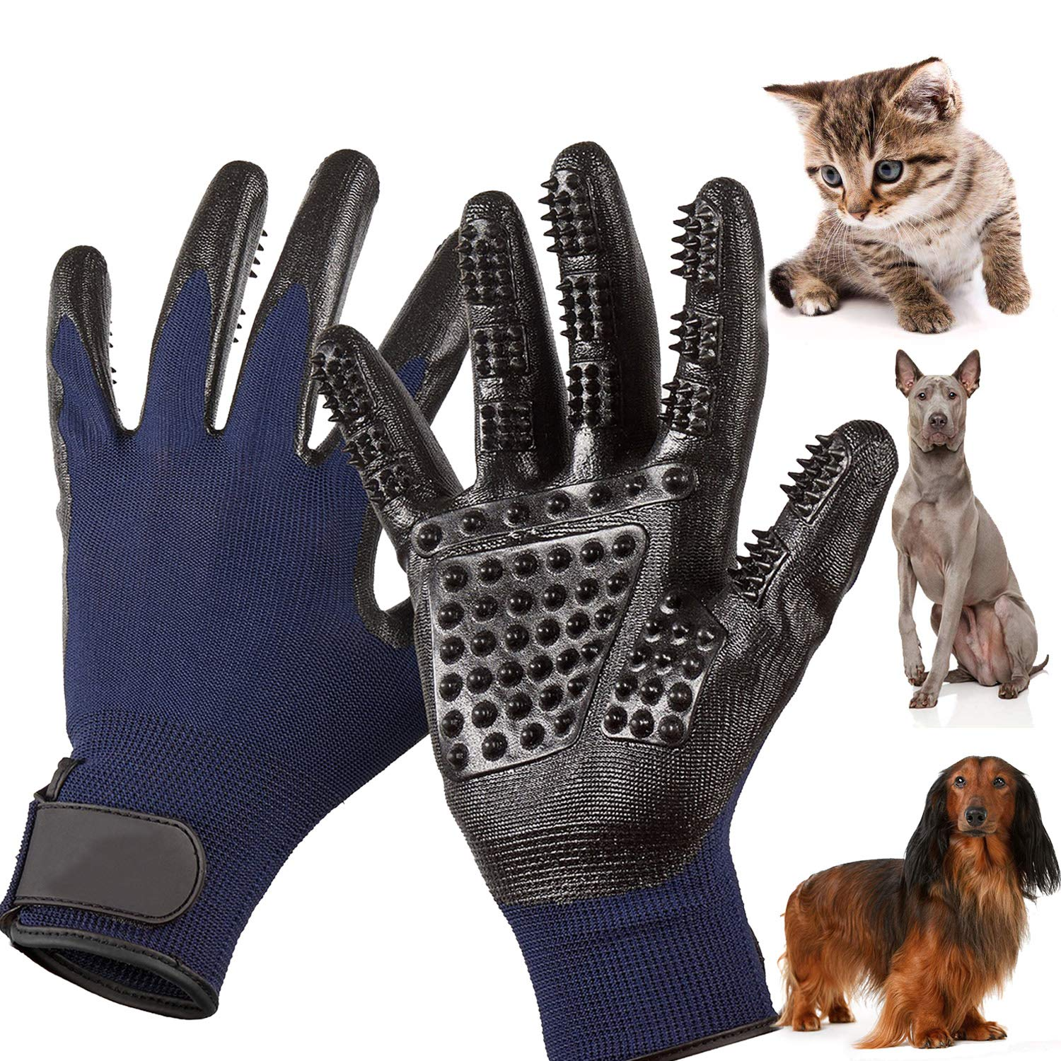 MMTX Pet Massage Gloves - 1 Pair Rubber Deshedding Brush Glove Pets Hair Remover Mitts Pet Bath Grooming Massage Tool for Cats and Dogs with Long & Short Fur by MMTX (Image #8)