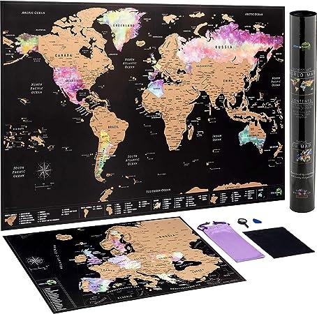 Mapa Mundi Rascar + Mapa Europa Rascar - con accesorios y tubo de ...