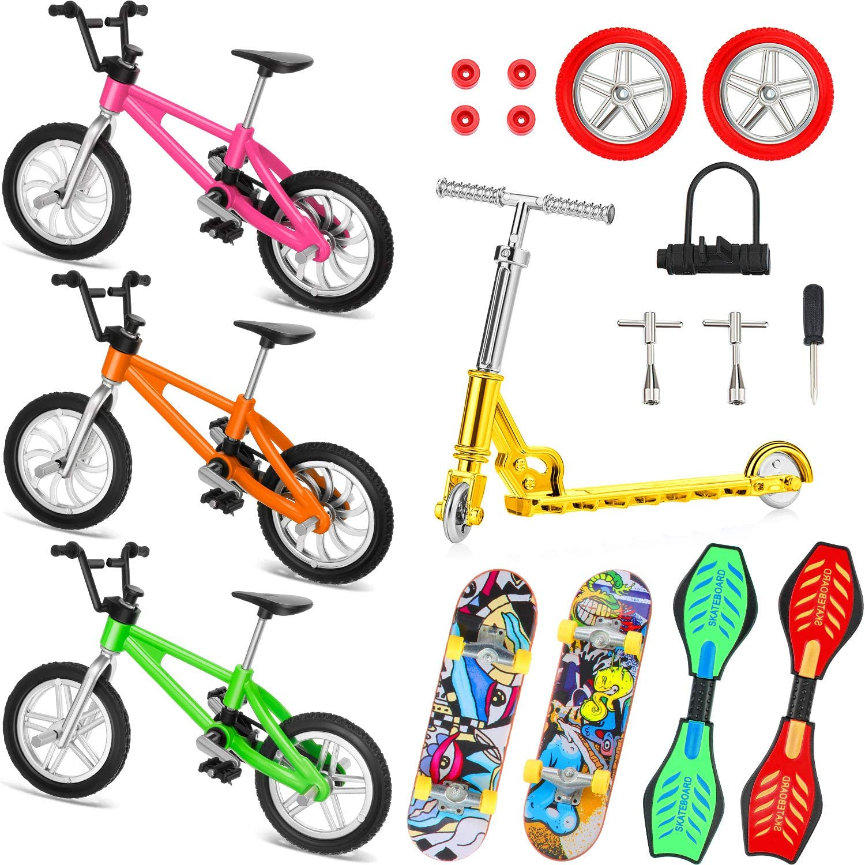 Juego de 18 Mini Juguetes de Dedos Patinetas de Dedo Moto Bicicletas de Dedo Tabla de Oscilación Minúsculo Favores de Fiesta de Movimiento de Punta de Dedo Herramientas y Ruedas de Repuesto
