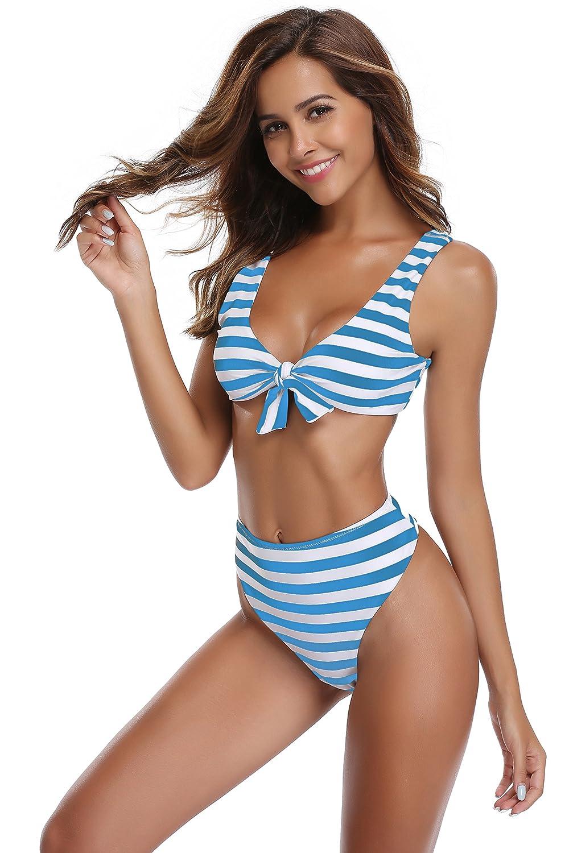 SHEKINI Mujer Tanga Bañador Trajes de Baña Amohadillas Cintura Alta Bikini Set