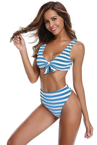 f6d400fe008d SHEKINI Mujer Tanga Bañador Trajes de Baña Amohadillas Cintura Alta Bikini  Set