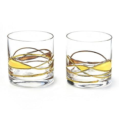 ANTONI BARCELONA Vaso de Whisky Cristal pintaado en Oro 24k de lujo soplado y pintado a