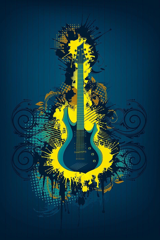 Bilderdepot24 Autoadhesivo Fotomural Guitarra eléctrica - Amarillo para ilustración - Sepia 150x230 cm- Papel Pintado - Fototapete - la fabricación Made in ...
