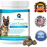 Calm Treats, Safe, All Natural Calming for Dogs, Dog Anxiety Supplement, Helps With Separation Anxiety, Motion Sickness, Storms, Fireworks. Natural Stress Relief for Dogs, Made in USA, 120 Soft Chews