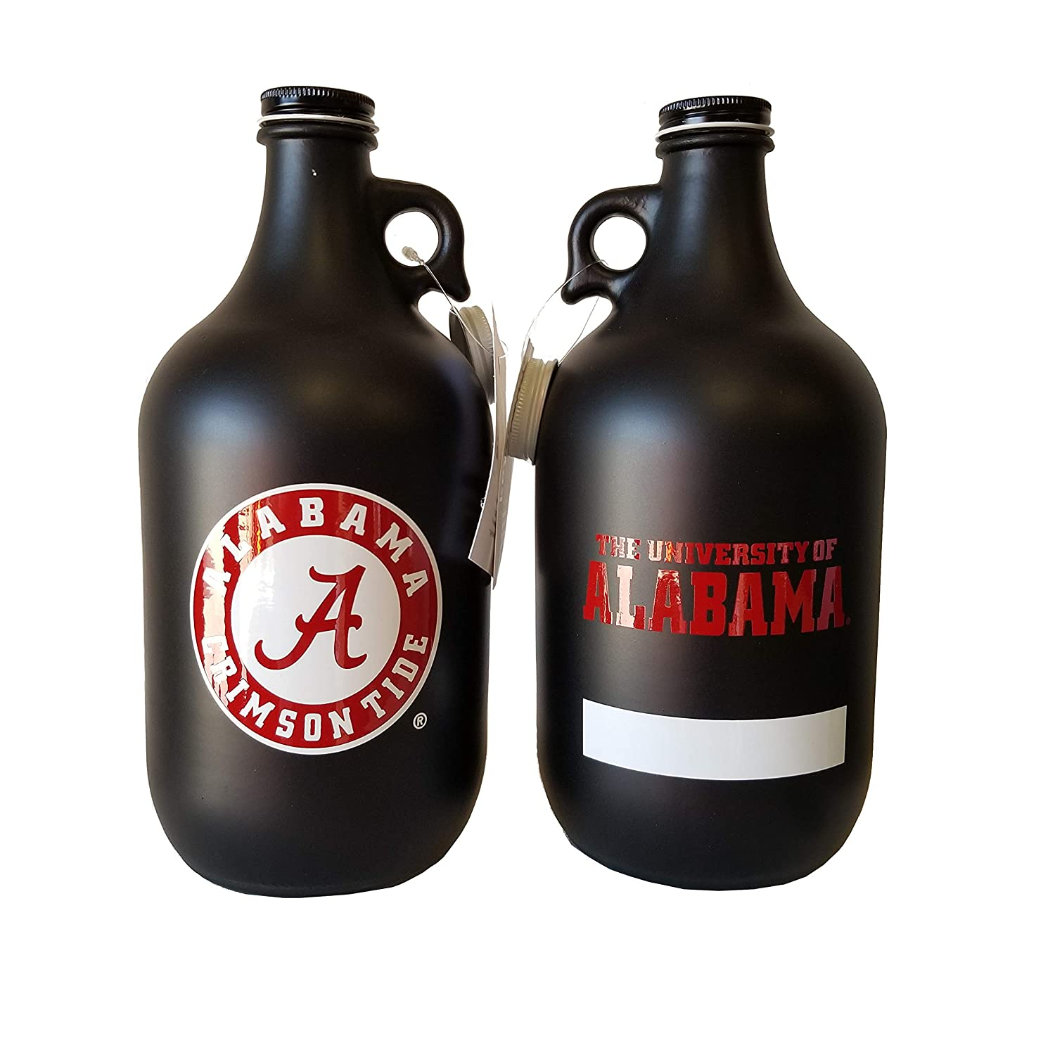NCAA Collegiate 64 oz Glass Jug Growler Frost Matte Finish with Optional Coin Bank Slotted Lid
