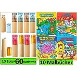 10 Buntstifte Sets mit Spitzer für Kinderparty Hochzeit Restaurant Geschenk mit Malbücher (Mehrfarbig)