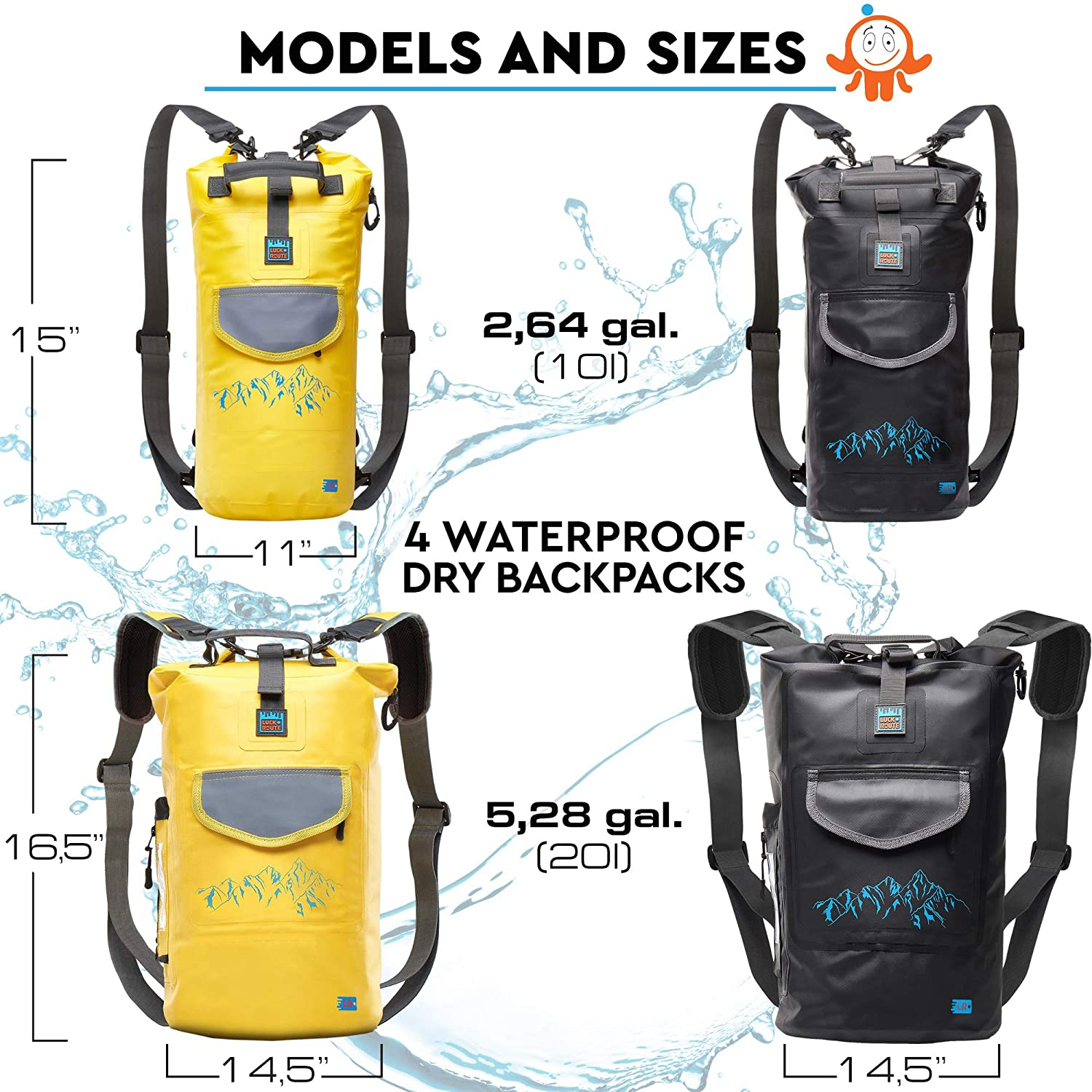 Amazon.com   Luck route Waterproof Dry Bag with Backpack Straps and Pockets  - Floating DryBag for Beach - Sack for Kayaking Boating or Fishing   Sports    ... f4115580c4eb0
