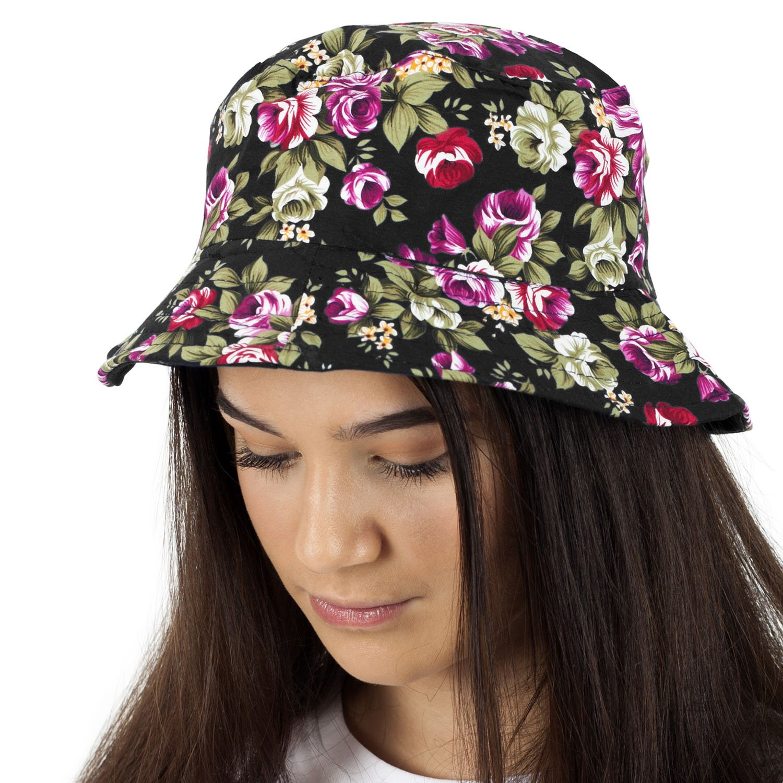 c9727cde2ed TOSKATOK UPF 50+ Ladies Reversible Floral Cotton Bush Bucket Sun Hat Black  Multi  Amazon.co.uk  Clothing
