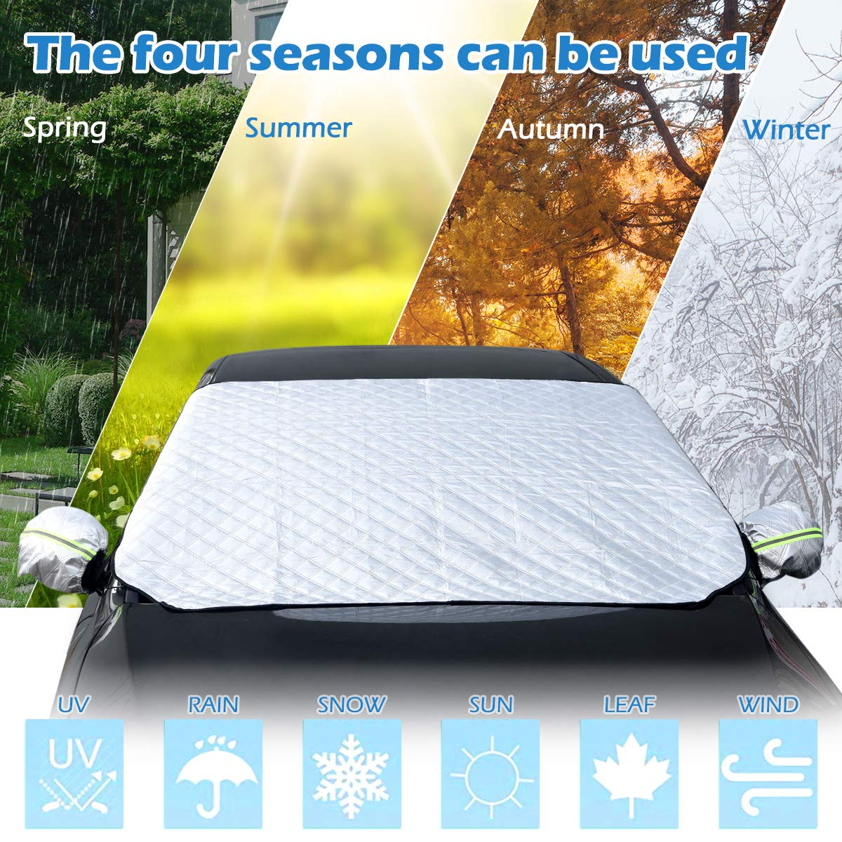 """58.7/"""" x 39.4/"""" Zhuosilang Sotical Car Snow Cover Windscreen Frost Cover Snow Cover Windshield Snow Cover Ears Sun Dust Water Resistant Shade Protector Morning Time Saver Cars SUV in All Weather"""