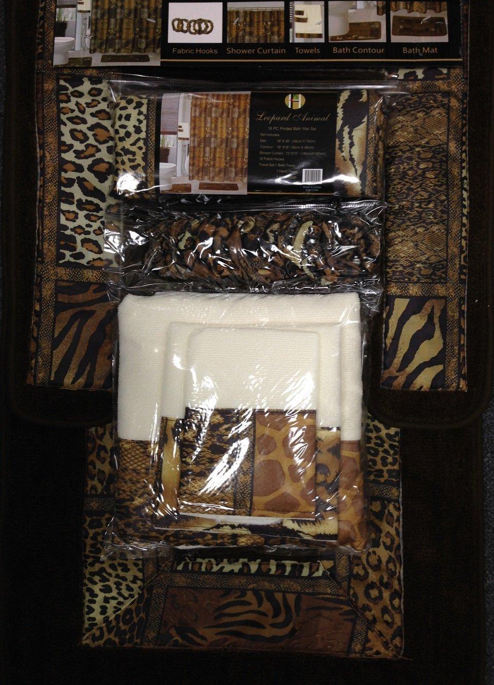 Leopard shower curtain - Amazon Com 18pcs Bath Rug Set Leopard Brown Bathroom Rug Shower Curtain Mat Rings Towel Set Home Kitchen