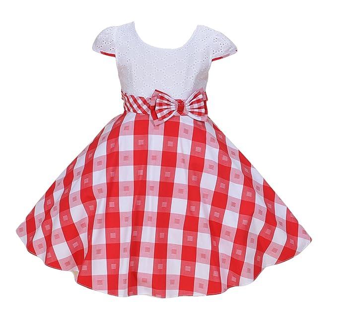 Cinda Vestido de fiesta de chicas Blanco y rojo 7-8 Años