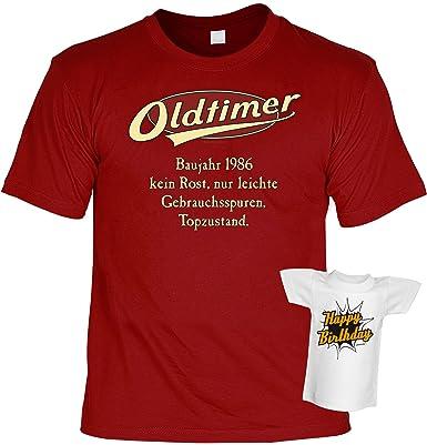 Geburtstag Geschenke T-Shirt Shirt Herren Geburtstagsgeschenk 30 Jahre  Freund Bruder Mann Sprüche + gratis Mini Tshirt Oldtimer Baujahr 1986:  Amazon.de: ...