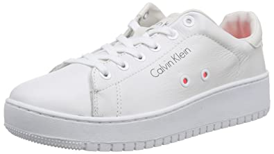 91cc4be4b7 Calvin Klein Jeans Women's Flash Baby Calf Low-Top Sneakers White Size: 7 UK