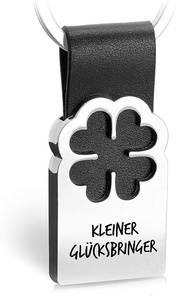FABACH Kleeblatt Glücksbringer Schlüsselanhänger mit Gravur