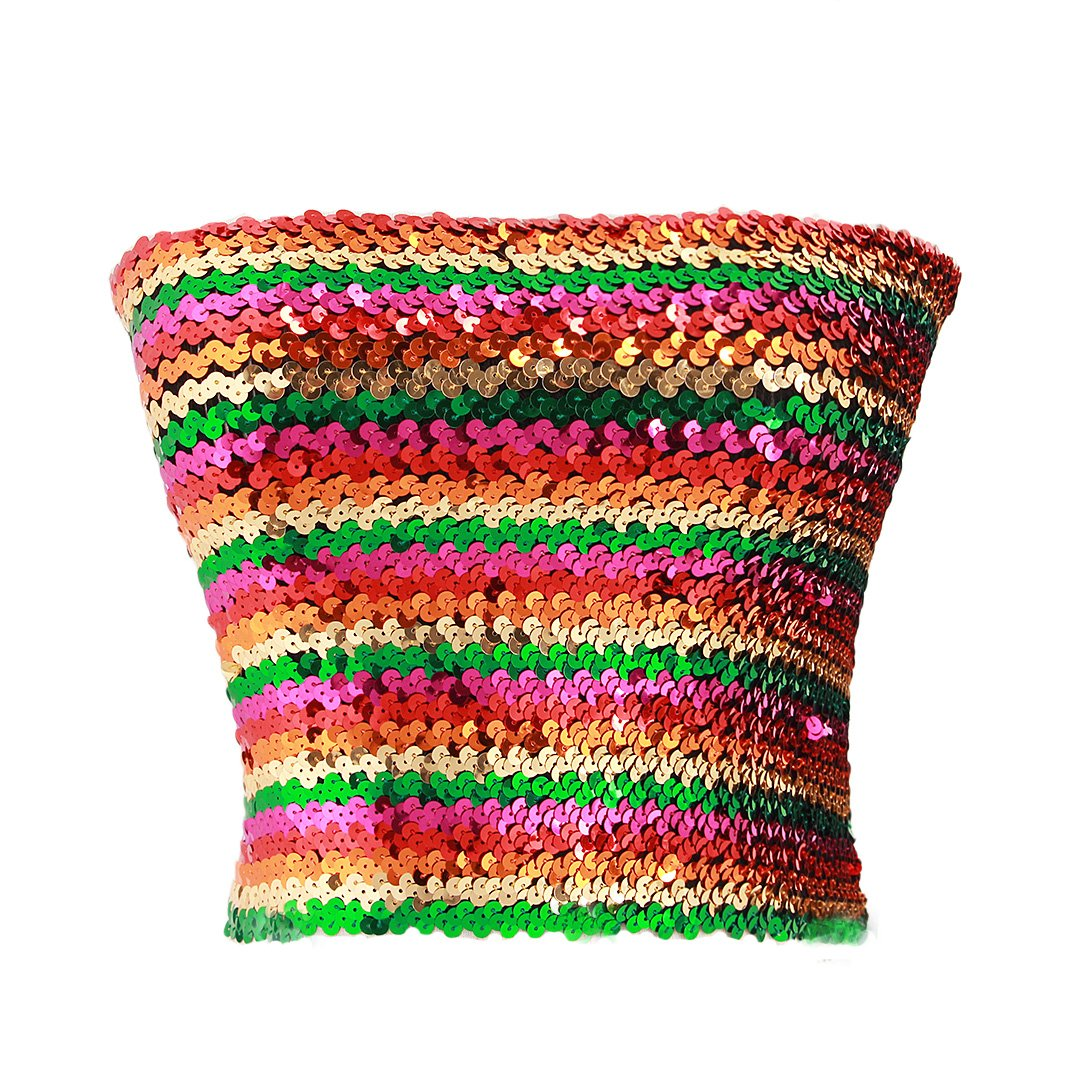 Multicolord Novia's Choice Women Sexy Sequins Stretch Tube Top Party Cropped Top Clubwear Strapless Vest