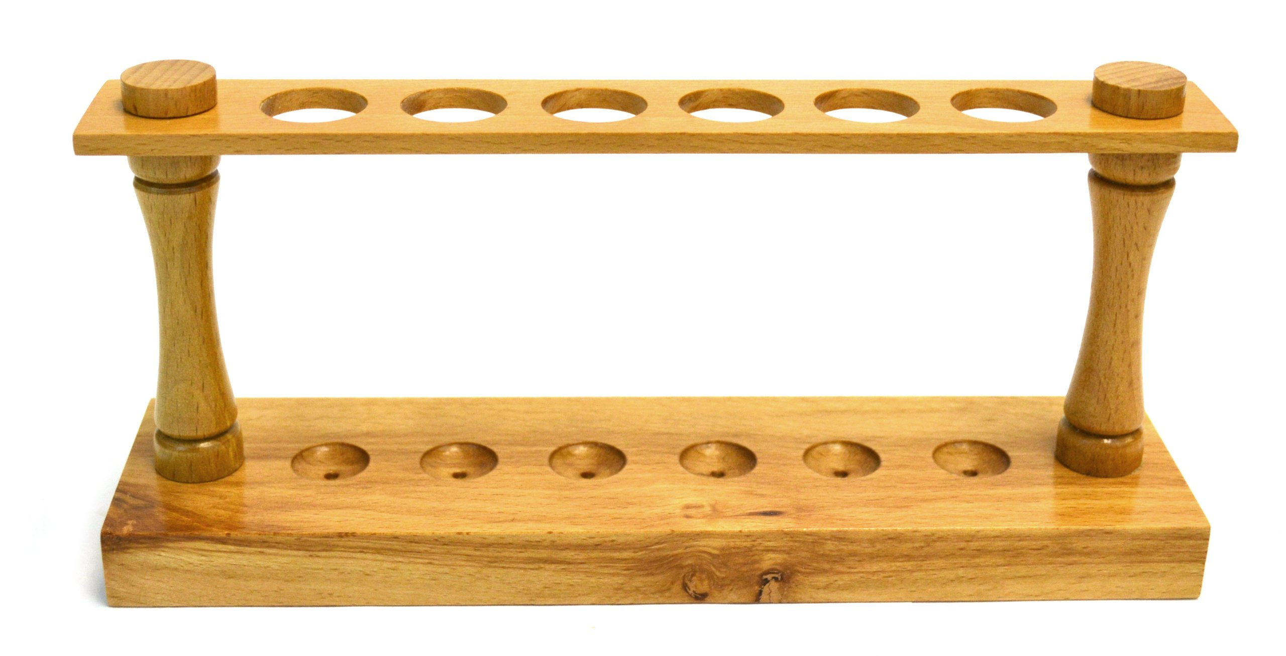 Eisco Labs Premium Wooden Test Tube Rack, (6) 22mm Holes, 9.5'' Long by EISCO