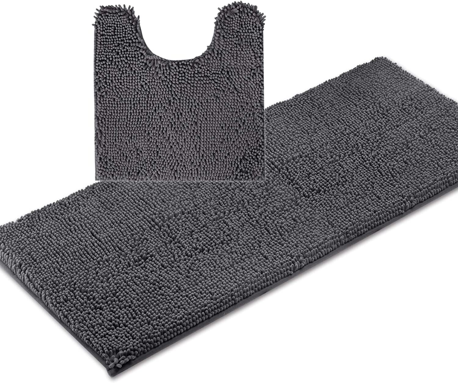 ITSOFT 2pc Non-Slip Shaggy Chenille Bathroom Mat Set, Includes 21 x 24 Inches U-Shaped Contour Toilet Mat and 21 x 47 Inches Bath Mat, Machine Washable, Charcoal Gray