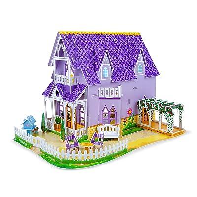 Melissa & Doug Pretty Purple Dollhouse 3-D Puzzle (16 x 10.75 x 10.75 inches, 100+ pcs): Toys & Games [5Bkhe1101969]
