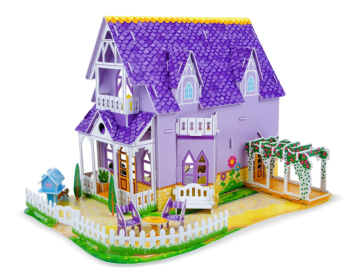 Melissa & Doug Pretty Purple Dollhouse 3-D Puzzle (16 x 10.75 x 10.75 inches, 100+ pcs) Melissa and Doug 9461