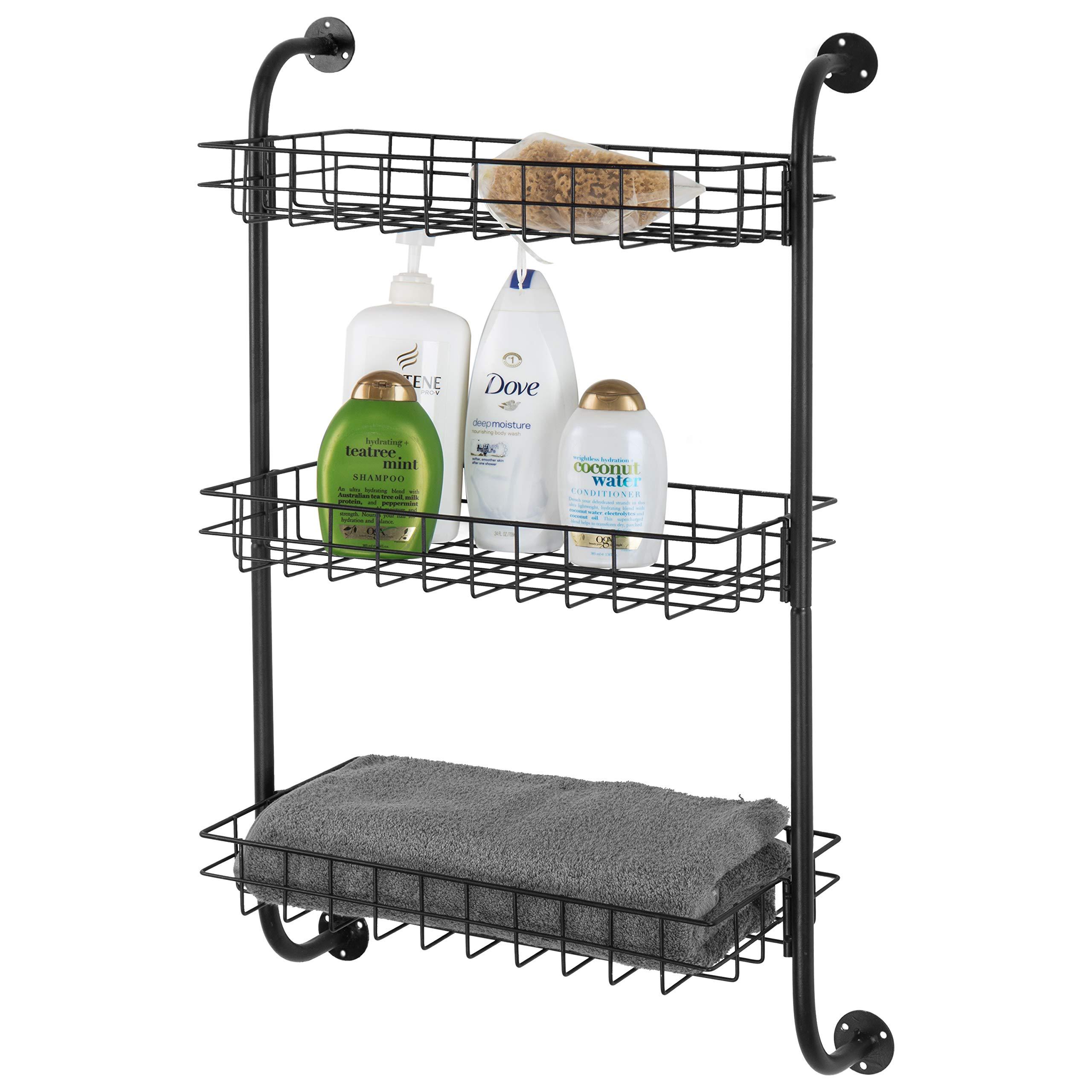 3-Tier Wall-Mounted Metal Wire Organizer Shelf, Bathroom Storage Rack, Black