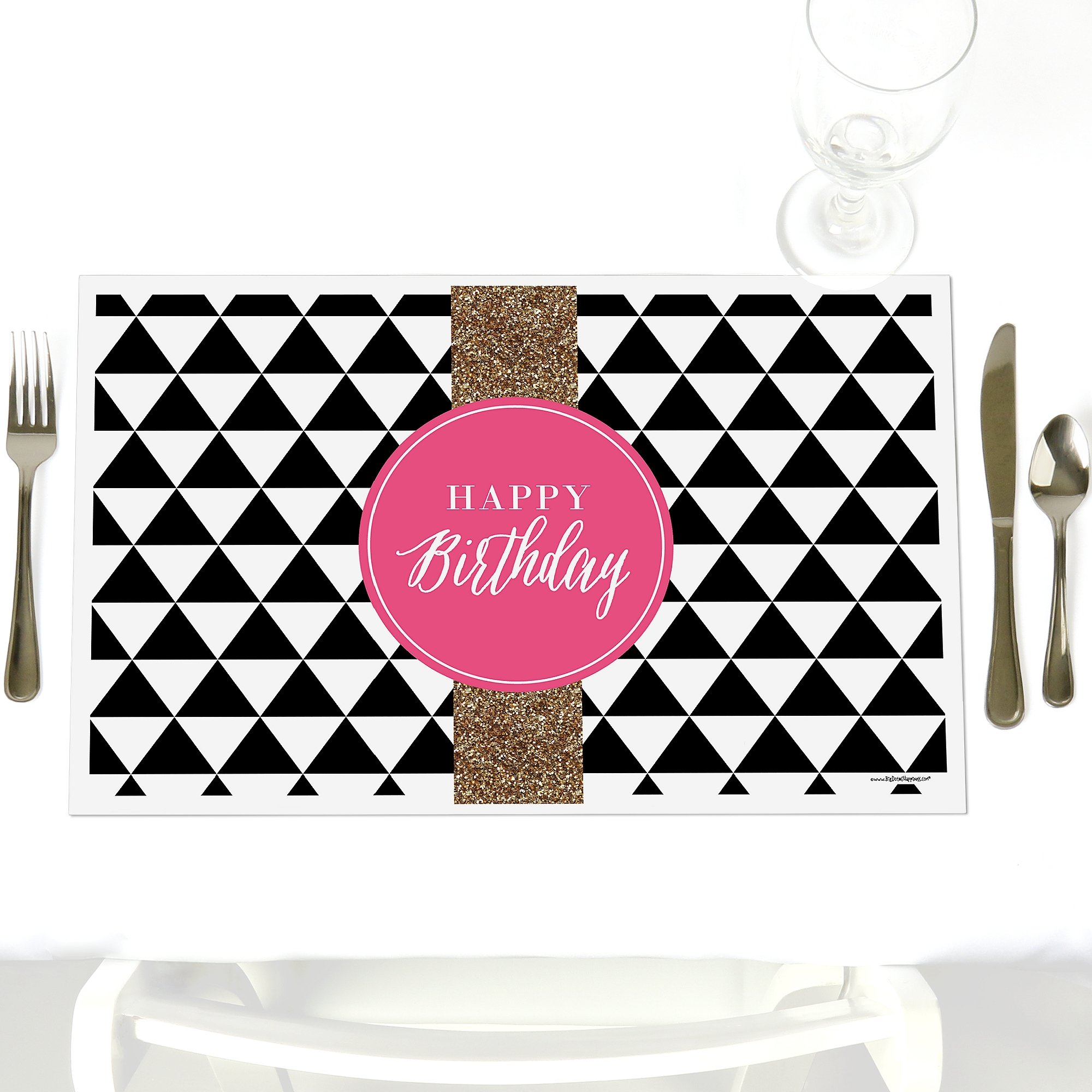 Chic Happy Birthday - Pink, Black and Gold - Party Table Decorations - Birthday Party Placemats - Set of 12