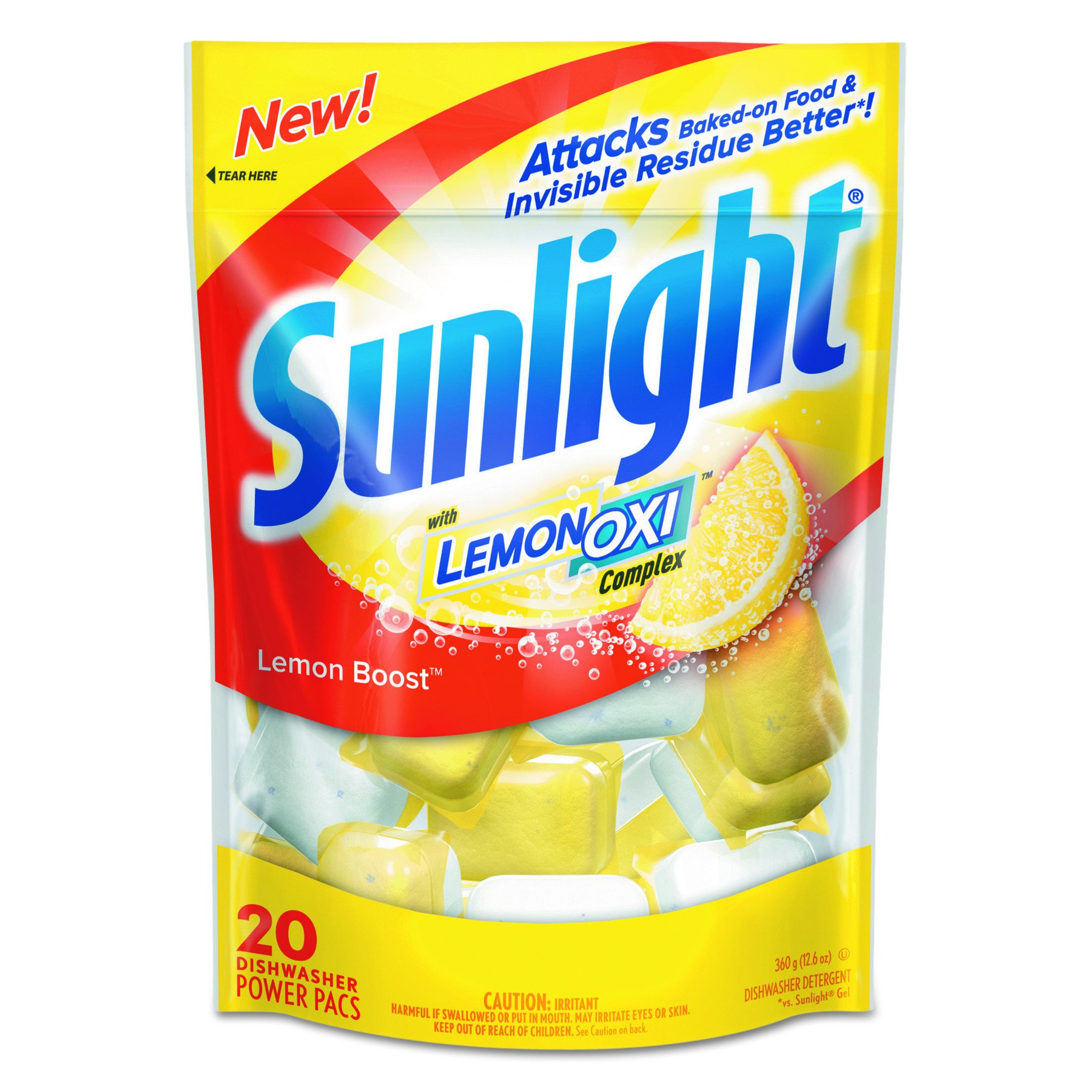 Sunlight CB711021CT Auto Dish Power Pacs, Lemon Scent, 1.5 oz Single Dose Pouches, 20 per Pack (Case of 6)