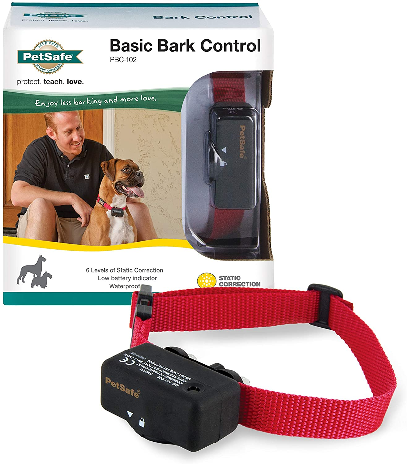 PetSafe Basic Bark Control Collar for Dogs 8 lb. and Up, Anti-Bark Training Device, Waterproof, Static Correction, Canine : Barking Deterrent Collars : Pet Supplies