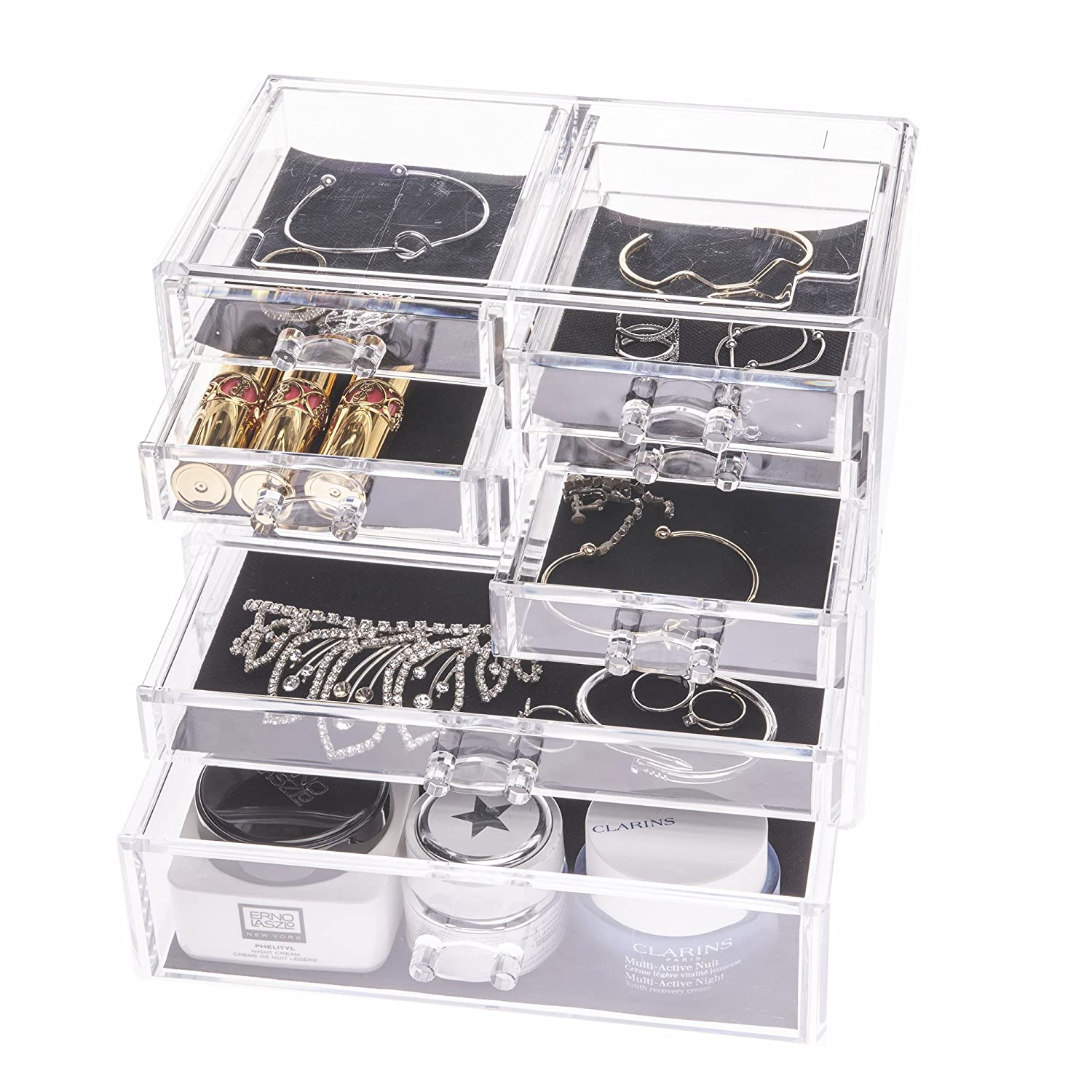 Choice Fun Jewelry Box Makeup Organizer Rings Earrings Necklace Storage 8 Drawers Clear CA-QFJJSN-SF-1005-52