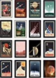 16 Vintage Style Space Postcards