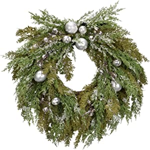 Cloris Art Christmas Wreaths for Front Door - Artificial 22 Inch Pine Glitter Wreath for Farmhouse Home Wedding Party Window Wall Decor(Silver & Green)