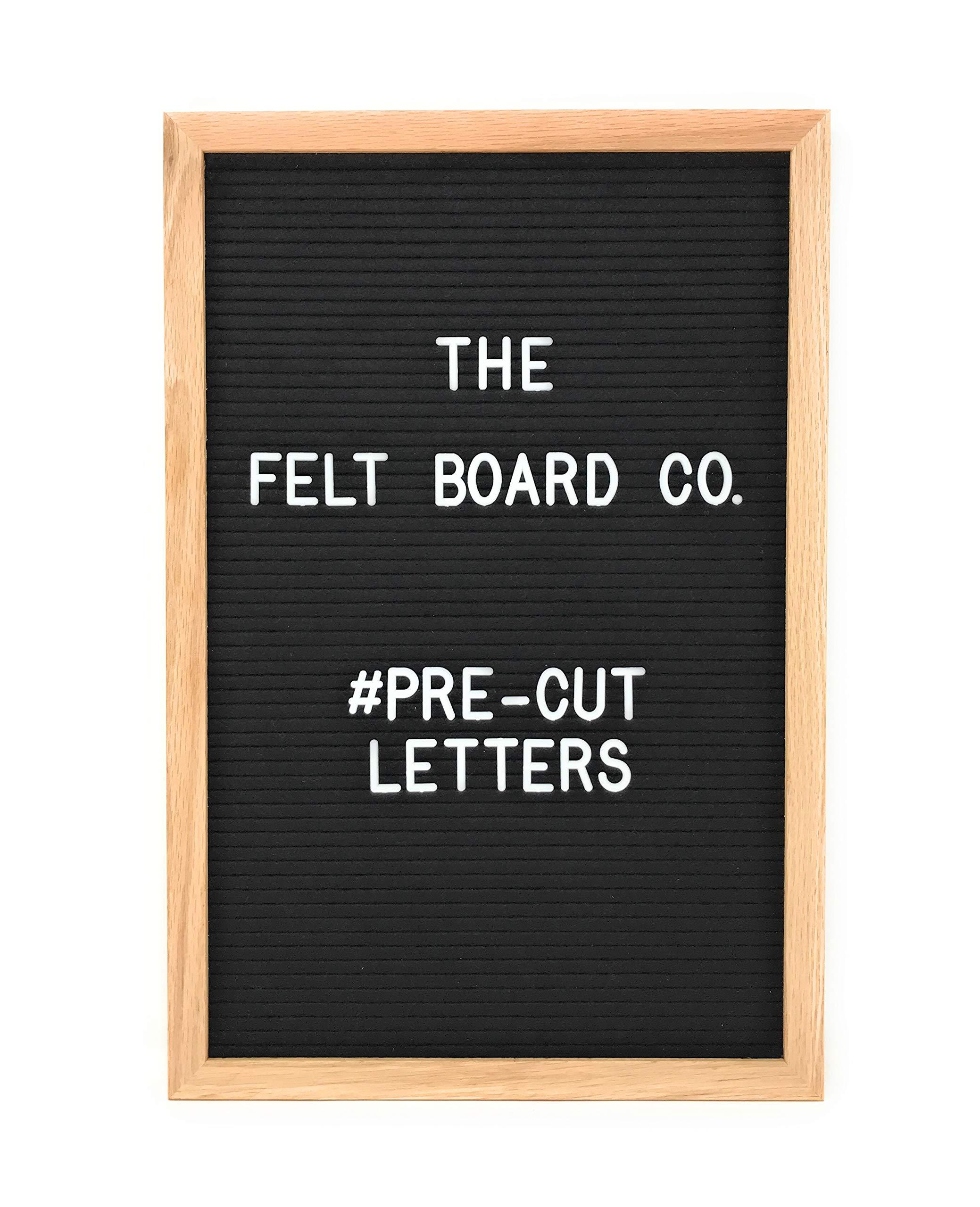 Black Felt Letter Board 12x18 Premium Bundle w/ 612 PRE-Cut Changeable Letters, Symbols, Emojis Includes Both 1 inch and 3/4 inch Sizes + Sorting Case + Cursive Word Pack + Canvas Bag w/Oak Frame