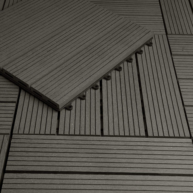 Laneetal Baldosas de Madera 30 x 60 cm Suelo de Exiterior WPC Juego de 6 Suelo Terraza Exterior para Jard/ín 1m/² Suelo Madera Jardin Cafe
