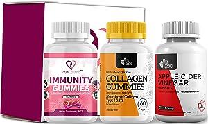 VitaCosmo Immunity Gummies, Collagen Gummies and Apple Cider Vinegar Gummies, Non-GMO, Gelatin-Free, Gluten-Free, Made in USA