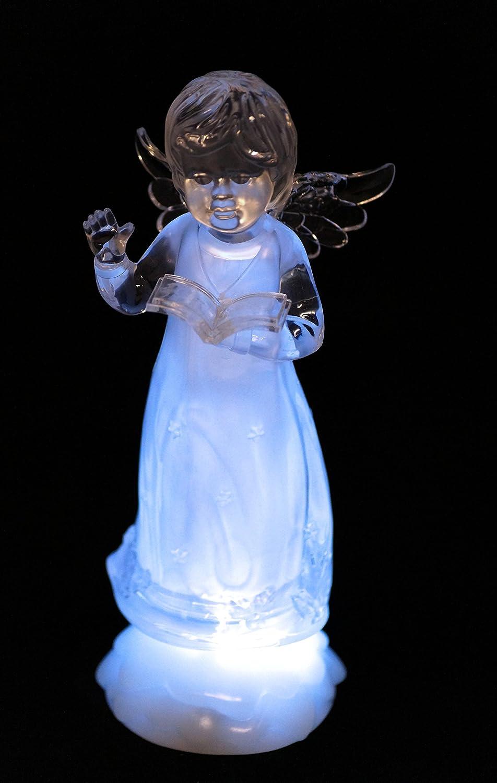 art decor LED Engel Eisblau leuchtender LED Engel mit Einer Bibel in der Hand H23cm