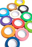 12 Rolls of Colored Masking Tape, 1 in x 60 yds; Great for DIY Label Making, Arts & Crafts, Home & Office. Includes Blue…