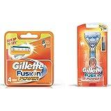 Gillette Fusion Power shaving Razor Blades - 4s Pack (Cartridge) & Fusion Power Shaving Razor Combo