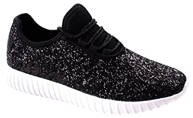 09e9ad8c2060 Image Unavailable. Image not available for. Color: Forever Link Women's  Glitter Sneakers Fashion Sneakers Sparkly Shoes for Women Remy-18 Black