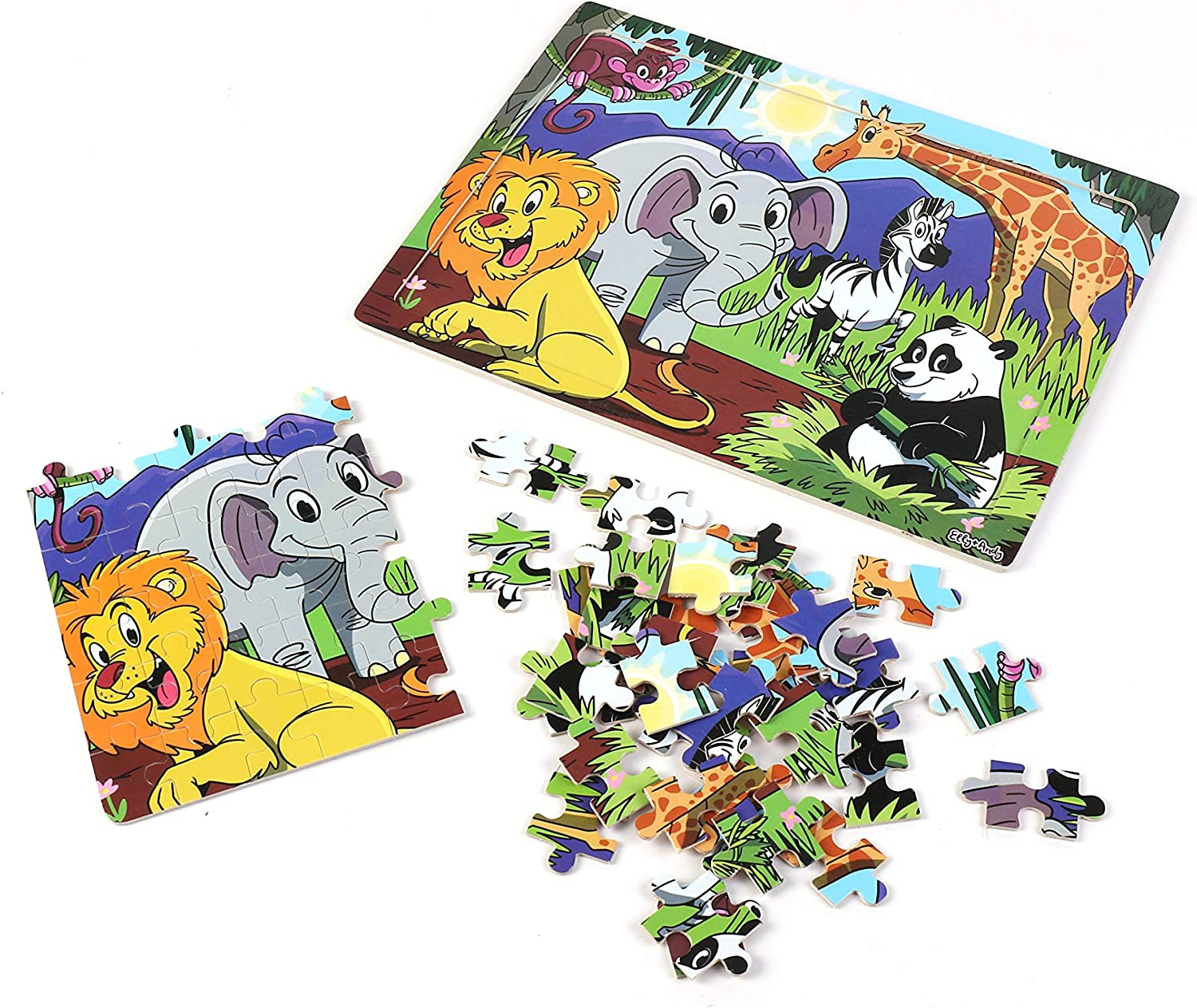 Ocean Elly /& Andy Set of 4 Wooden Puzzles 60 pcs Dinosaur Space Designed in The USA for Kids Ages 3-7 Preschool Educational Learning Toys Set for Toddlers Safari